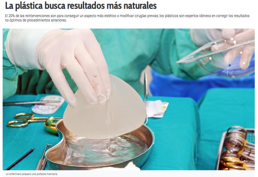 Reportatge SCCPRE a Diario Médico: La plástica busca resultados más naturales