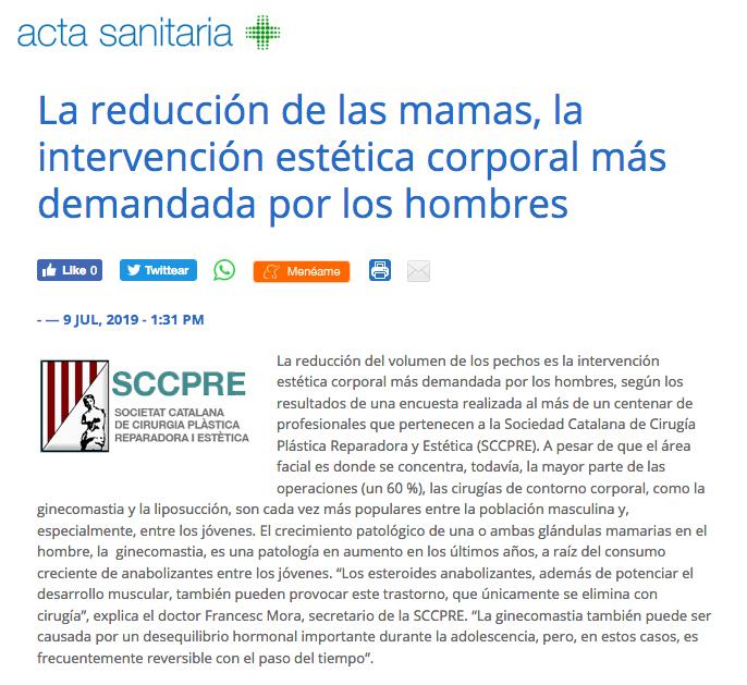Notícia a Acta Sanitaria sobre la reducció de les mames en homes