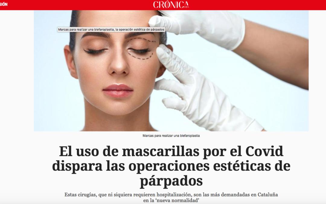 Notícia a Crónica Global sobre l'augment de cirurgies de les parpelles després del confinament
